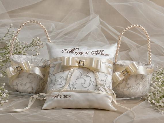Flower Girl Basket Ring Bearer Pillow Set 2 By