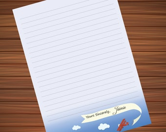 Plane with Name - Customized Printable Stationery Paper - For Writing to Penpals