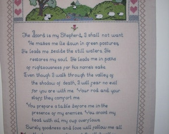 23rd Psalm Hand Made Cross Stitch Wall Hanging Unframed