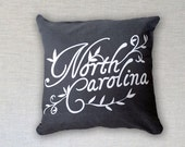 Throw Pillow Cover with Zipper, North Carolina Lettering