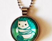 CAT NECKLACE cat pendant necklace cute cat necklace cat cute pendant cat necklace for girl yarn cat glass pendant necklace, yarn cat jewelry