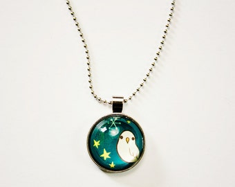Glass Owl Necklace - Owls Jewellery - Night Owl Necklace - Owl Charm Necklace - Night Owl Jewelry - Boygirlparty RISD