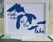 Lake House Decor - Lake House Art - Midwest is Best - Gifts - Great Lakes Art - Michigan Artwork - Meet Me at the Lake