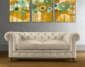 "Abstract Triptych Print on Gallery Wrap Canvas, Large Art Giclee Print from Painting ""Blue Flowers"" 20 x 48, 24 x 60, 30 x 72 Ready to Hang"