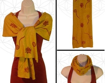 Hand printed Scarf - Organic Cotton and Hemp head wrap and scarf with Lotus and swirls - Handmade, dyed, and printed