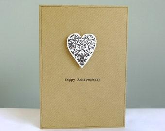 Anniversary card husband wife - damask heart - personalised anniversary card -  wedding day congratulations card - engagement - Handmade UK