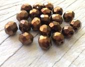Czech glass beads,  faceted round firepolish beads dark bronze 8mm 20