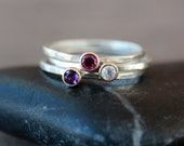 Purple Pop Stacking Rings, Set of Three Gemstone Solitaires, Sterling Silver Ring Set, 14k Gold Accent, Trio of Bands, Handmade Rings