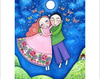 Couple large A3 art print dance lovers wedding gift engagement present whimsical folk art painting butterflies new love - 'Dance'