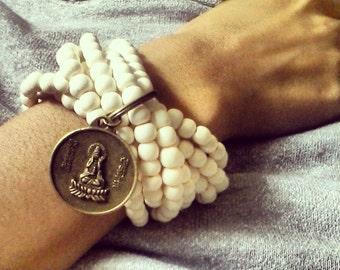 Buddha Bracelet - Dragon Bracelet - White Wood Beaded Bracelet - Multi Strand Stretch Bracelet - Wooden Bead Bracelet