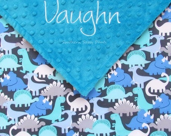 Personalized Baby Blanket - Gray Baby Boy Blanket , Minky and Dino Dinosaur Blanket for Toddlers - Embroidered - 36x40