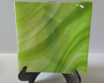 Fused Glass Dish, Dining and Entertaining, Green and White, CGGE