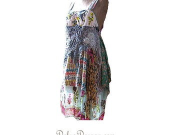 Flora Dress, Floaty, Cotton, Chiffon, Silk, Smocking, Embroidery, Vintage Lace, Rustic, Boho