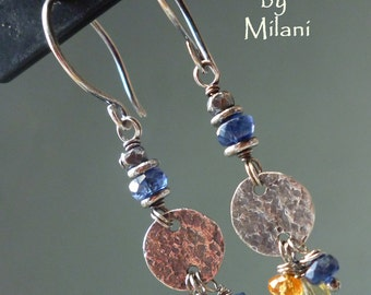 Blue Earrings Orange Yellow Colorful Gemstone Beaded for Boomers
