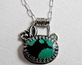 Turquoise Blooms Necklace - Handmade Sterling Silver & Turquoise
