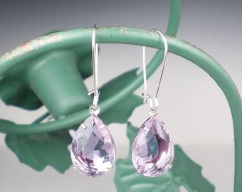 Pale Lavender Rhinestone Drop Earrings Lavender Wedding Bridesmaid Earrings Jewelry
