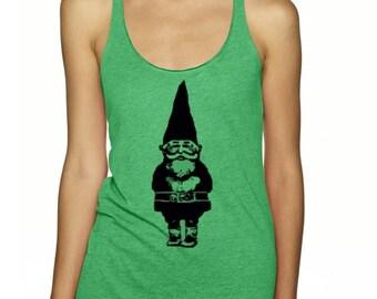 Womens gnome tank top ladies tshirt clothing active wear trendy woodland clothing razor back fun gym shirts gnomes