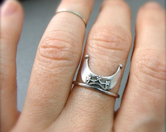 witchy woman crescent moon stack ring