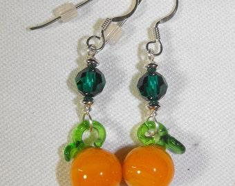 Glass Orange, Swarovski Crystal Earrings & Sterling Silver Ear Wires