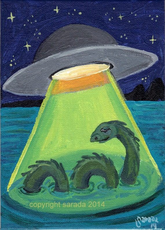 UFO abduction Loch Ness Monster original art acrylic painting 5 x 7 weird cryptid alien sci fi surreal fantasy art cryptozoology conspiracy