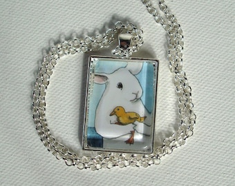 Rabbit with a Duckling - Unique Handmade Rabbit Pendant