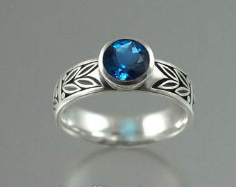 SACRED LAUREL silver ring with London Blue Topaz