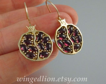 POMEGRANATE garnet 14k yellow gold earrings