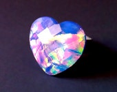 Opalescent Galaxy Heart Ring - Available In Lavender Or Green Fire - Adjustable Silver Tone Band - Magical Holographic Colored Jewelry