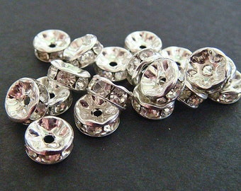 Rhinestone Rondelles Lot of (50) Spacers 7 mm GLASS in METAL Beads 7mm jc rhrond7 MoRE AVAILABLE