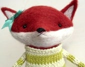 needle felted  fox with sweater