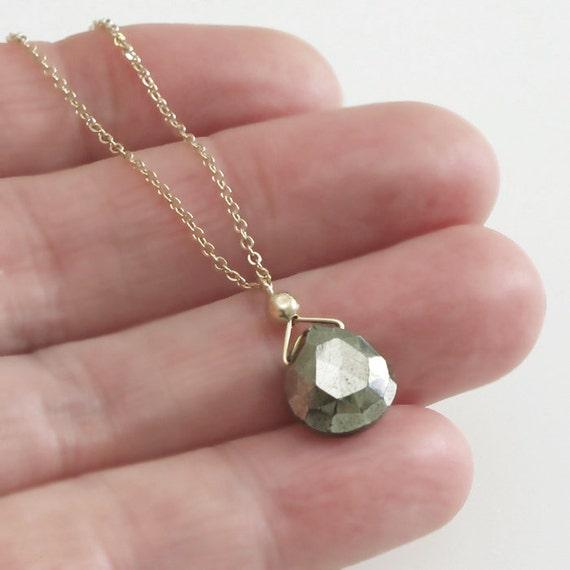 Pyrite Necklace Briolette Solitaire Gold Chain DJStrang Golden Gemstone Minimalist Boho Chic
