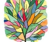 Colorful Watercolor Tree Art Print - painting, tree, nature, watercolor painting, art print
