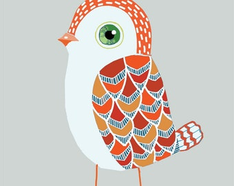 Red Baby Bird art print - archival fine art