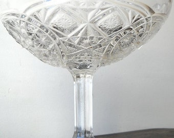 Higbee Glass Compote, Alfa Pattern, Vintage Crystal Pedestal Comport, EAPG Collectible