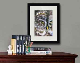 Owl art | bird art | watercolor print | woodland creatures | boys room decor | watercolor paintings | blue gray grey black yellow | PRINT