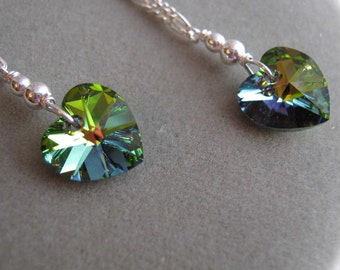 Iridescent Green Crystal Heart Silver Earrings - FREE SHIPPING