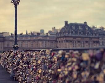 """Pont Des Arts, Paris Art Print Original, Love Locks Bridge, Paris Photography, Romantic French Decor """"How Much Does Love Weigh"""""""