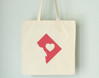OOPS DC LOVE Tote WashingtonDC Red state silhouette with heart on natural bag