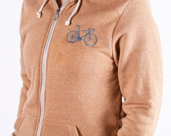 VITAL BICYCLE XS Hoodie Embroidered Bike Caramel Heather Dusky Blue extra small