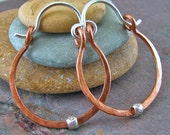 Hammered Copper Hoop Earrings Rustic Jewelry Handmade Raw Copper Hinged Hoops with Fine Silver Bead 3/4 Inch Small Hoops Minimalist Jewelry