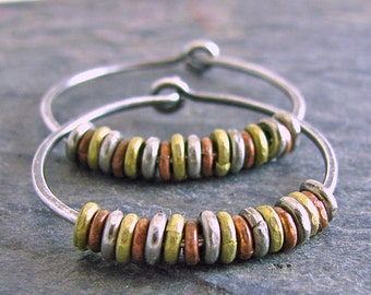 Mixed Metal Jewelry Sterling Silver Hoop Earrings Rustic Jewelry Oxidized Silver African Found Metal Brass Copper Silver 1 Inch Small Hoops