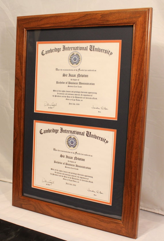 Double Diploma Frame For 8 5 X 11 Diplomas Solid Cherry Fade