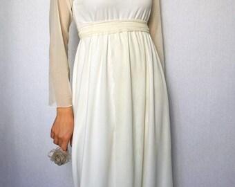 jersey wedding dress, alternative formal dress, bridal tunic dress, ivory and white