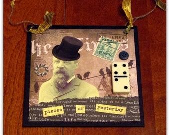 Mixed Media Collage - Vintage Style  -  Steampunk Man -  4x4 Inches
