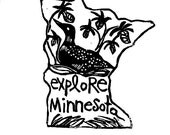 "Minnesota state linoleum block print with text + state bird and flower - 9""x12"" wall art"