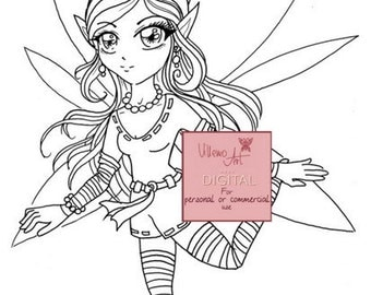 Digital stamp - Villemoart - FAIRY 1 - JPG PNG Printable Coloring Page Fantasy Elf Fairy Art