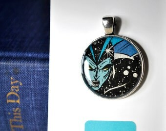 Comic Book Necklace - Blue Comic Jewelry - Geek Jewelry - Blue and Vlack Face
