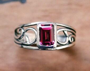 Rhodolite garnet ring silver, vine ring, wide band ring, January birthstone, emerald cut ring, bezel set ring, silver swirl ring, custom