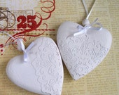 White rustic wood heart decorations / ornaments with laser cut paper lace set of 2