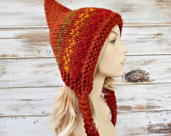 Knit Hat Womens Hat - Orange Pixie Hat Fair Isle - Rust Orange Red Gold Green Knit Hat - Rust Orange Hat Womens Accessories Winter Hat